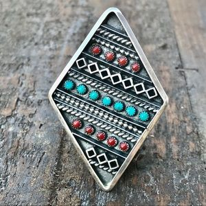 Navajo Sterling Turquoise and Red Coral Ring Sz8.5